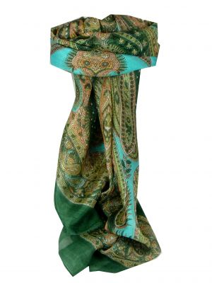 Mulberry Silk Classic Square Scarf Harisa Dark Green by Pashmina & Silk