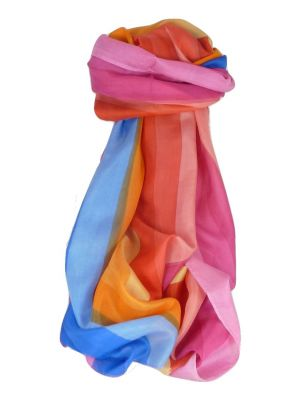 Mulberry Silk Classic Long Scarf Malhotra Rainbow Palette by Pashmina & Silk