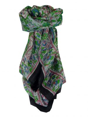 Mulberry Silk Classic Square Scarf Alisha Black by Pashmina & Silk