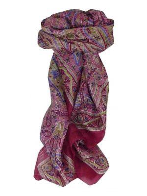 Mulberry Silk Traditional Square Scarf Yamuna Rose by Pashmina & Silk