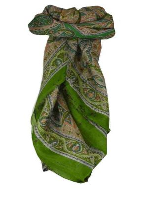 Mulberry Silk Traditional Square Scarf Yamuna Sage by Pashmina & Silk