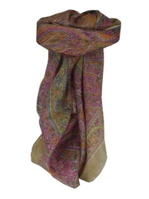 Mulberry Silk Traditional Square Scarf Yamuna Caramel by Pashmina & Silk