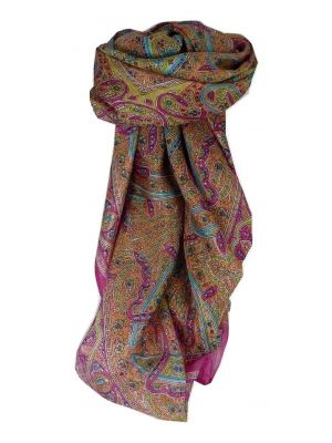 Mulberry Silk Traditional Square Scarf Yamuna Carnation by Pashmina & Silk