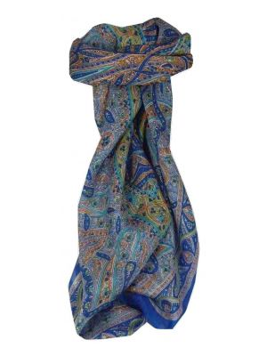 Mulberry Silk Traditional Square Scarf Yamuna Blue by Pashmina & Silk