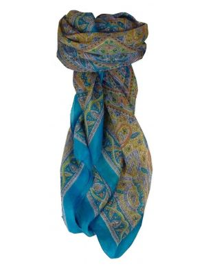 Mulberry Silk Traditional Square Scarf Yamuna Aquamarine by Pashmina & Silk