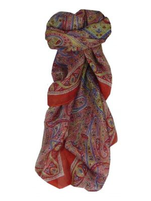 Mulberry Silk Traditional Square Scarf Yamuna Red by Pashmina & Silk