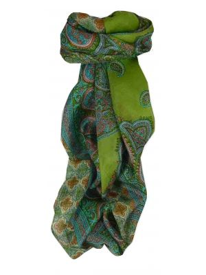 Mulberry Silk Traditional Square Scarf Vashti Citron Vert by Pashmina & Silk