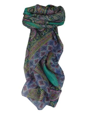 Mulberry Silk Traditional Square Scarf Vashti Teal by Pashmina & Silk
