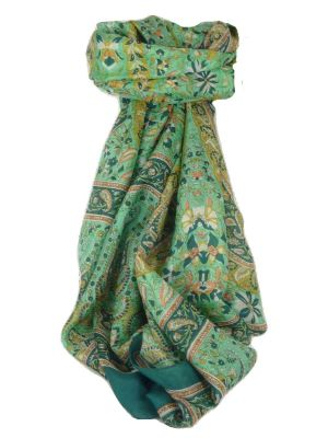 Classic Paisley Long Scarf Mulberry Silk Sehgal Teal by Pashmina & Silk