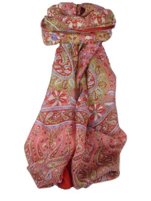 Classic Paisley Long Scarf Mulberry Silk Sehgal Scarlet by Pashmina & Silk
