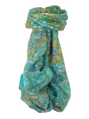 Classic Paisley Long Scarf Mulberry Silk Sehgal Forget Me Not by Pashmina & Silk