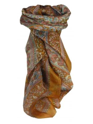 Mulberry Silk Traditional Square Scarf Karna Caramel by Pashmina & Silk