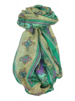 Classic Paisley Long Scarf Mulberry Silk Golla Jade by Pashmina & Silk