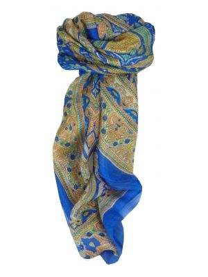 Mulberry Silk Traditional Square Scarf Gandak Blue by Pashmina & Silk