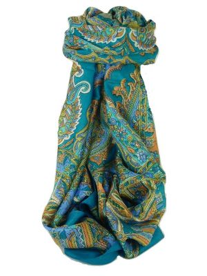 Classic Paisley Long Scarf Mulberry Silk Dara Forget Me Not by Pashmina & Silk