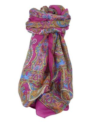Classic Paisley Long Scarf Mulberry Silk Dara Carnation by Pashmina & Silk