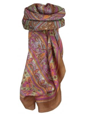 Mulberry Silk Traditional Square Scarf Gandak Caramel by Pashmina & Silk