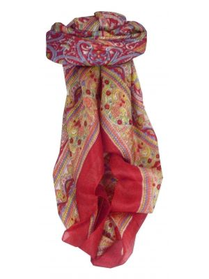 Mulberry Silk Traditional Square Scarf Gandak Red by Pashmina & Silk
