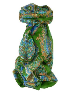 Classic Paisley Long Scarf Mulberry Silk Dara Mint by Pashmina & Silk