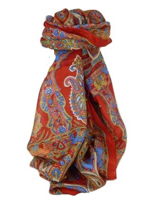 Classic Paisley Long Scarf Mulberry Silk Dara Scarlet by Pashmina & Silk