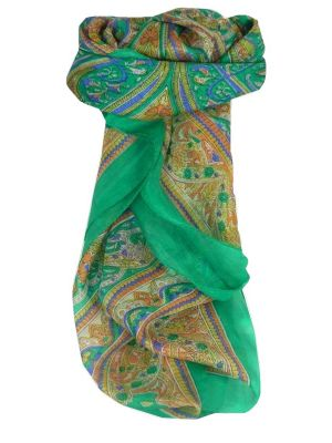 Mulberry Silk Traditional Square Scarf Gandak Emerald by Pashmina & Silk