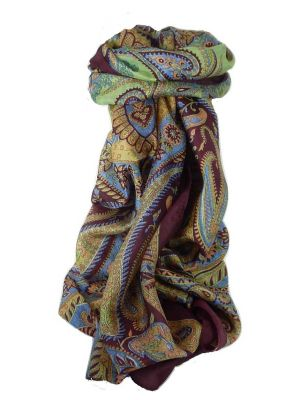 Classic Paisley Long Scarf Mulberry Silk Charan Hibiscus by Pashmina & Silk