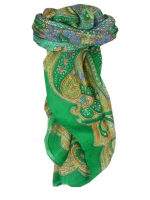 Mulberry Silk Traditional Square Scarf Girij Emerald by Pashmina & Silk
