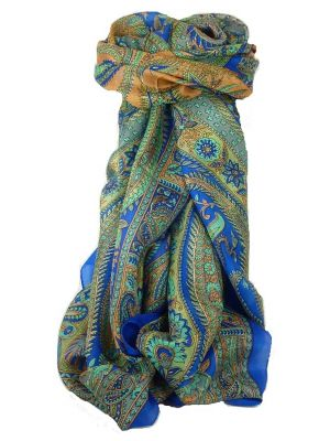 Classic Paisley Long Scarf Mulberry Silk Charan French Blue by Pashmina & Silk