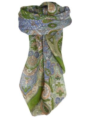 Mulberry Silk Traditional Square Scarf Girij Sage by Pashmina & Silk
