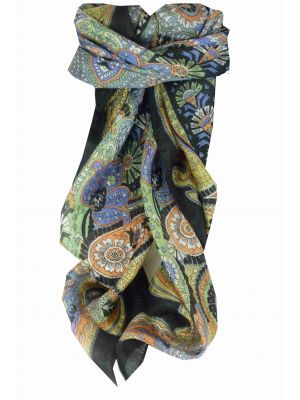 Mulberry Silk Traditional Square Scarf Girij Black by Pashmina & Silk