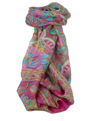 Classic Paisley Long Scarf Mulberry Silk Anya Carnation by Pashmina & Silk