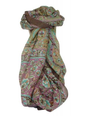 Classic Paisley Long Scarf Mulberry Silk Chia Chocolate by Pashmina & Silk