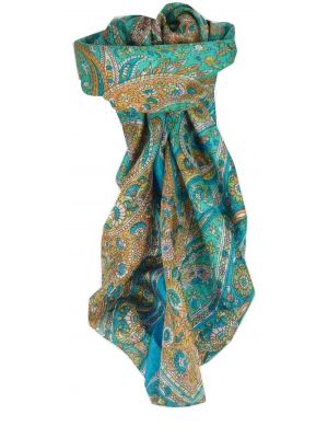 Mulberry Silk Traditional Square Scarf Vishwa Aquamarine by Pashmina & Silk