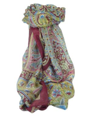 Classic Paisley Long Scarf Mulberry Silk Chia Hibiscus by Pashmina & Silk