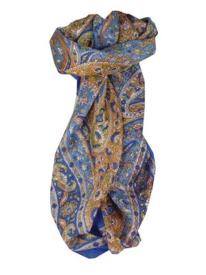 Mulberry Silk Traditional Square Scarf Vishwa Blue by Pashmina & Silk