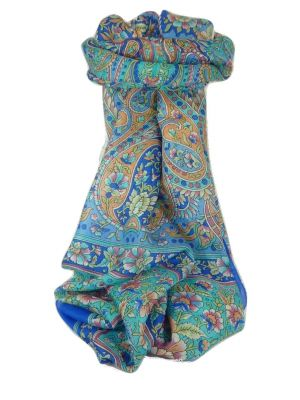 Classic Paisley Long Scarf Mulberry Silk Chia French Blue by Pashmina & Silk
