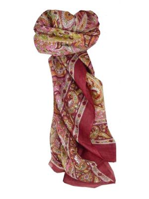 Mulberry Silk Traditional Square Scarf Vishwa Wine by Pashmina & Silk