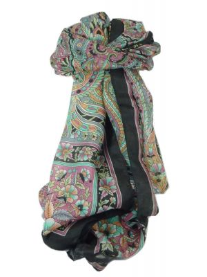 Classic Paisley Long Scarf Mulberry Silk Chia Jet by Pashmina & Silk
