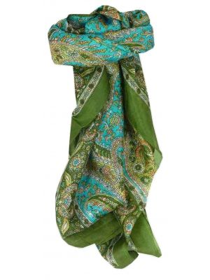 Mulberry Silk Traditional Square Scarf Vishwa Sage by Pashmina & Silk