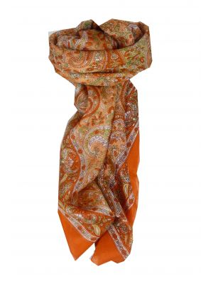 Mulberry Silk Traditional Square Scarf Vishwa Terracotta by Pashmina & Silk