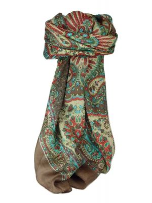 Classic Paisley Square Scarf Mulberry Silk Narine Chocolate by Pashmina & Silk