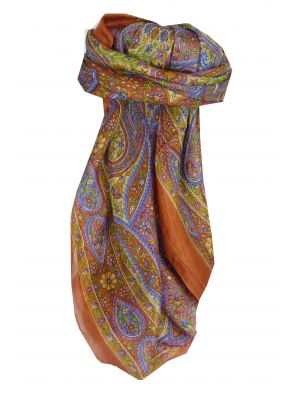 Mulberry Silk Traditional Square Scarf Amnat Copper by Pashmina & Silk