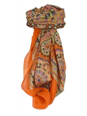 Classic Paisley Square Scarf Mulberry Silk Narine Marigold by Pashmina & Silk