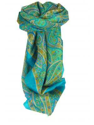 Mulberry Silk Traditional Square Scarf Amnat Aquamarine by Pashmina & Silk