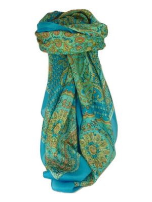 Classic Paisley Square Scarf Mulberry Silk Narine Forget Me Not by Pashmina & Silk