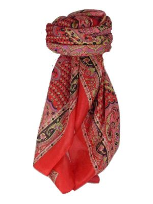 Classic Paisley Square Scarf Mulberry Silk Narine Scarlet by Pashmina & Silk