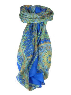 Classic Paisley Square Scarf Mulberry Silk Narine French Blue by Pashmina & Silk