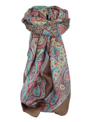 Classic Paisley Square Scarf Mulberry Silk Balay Chocolate by Pashmina & Silk