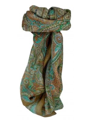 Mulberry Silk Traditional Square Scarf Cheyar Caramel by Pashmina & Silk