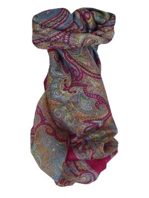Mulberry Silk Traditional Square Scarf Cheyar Cerise by Pashmina & Silk